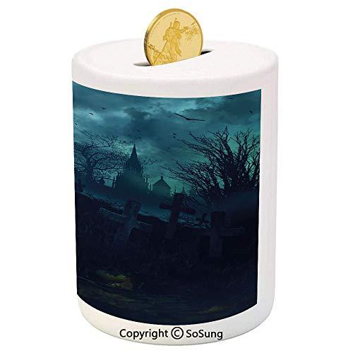 (Halloween Ceramic Piggy Bank,Halloween Pumpkin in Spooky Graveyard Eerie Gloomy Stormy Atmosphere 3D Printed Ceramic Coin Bank Money Box for Kids & Adults,Petrol Blue)