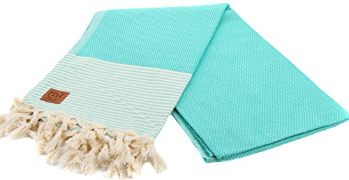 - Gold Case EPHESOS 100% Cotton pestemal - Bath & Beach Multi-Purpose Turkish Towel/Throw - 39x70(100x180cm) Peshtemal, Mint