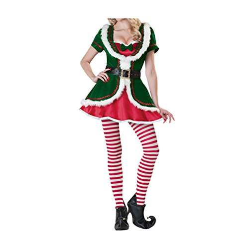 Ciel Infini Women's Santa Helper Costume Adult Christmas Honey Elf Holiday Outfits,Red,One Size Fits US (Holiday Honey Costumes)