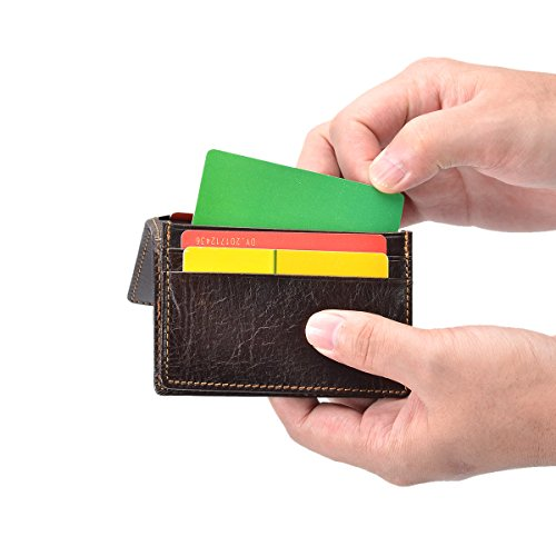 Genuine Leather Wallets RFID Blocking Slim Wallet Money Clip Credit Card Holder Bifold Front Pocket for Men