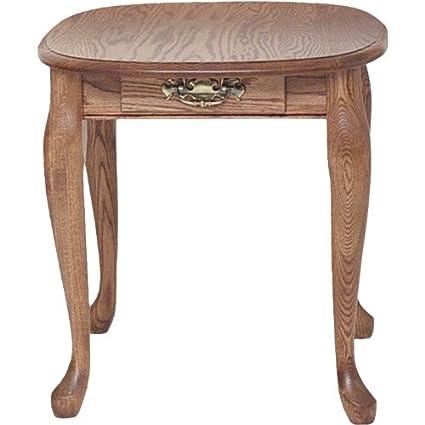 Genial Solid Oak Queen Anne End Table With Drawer U2013 21u2033 X 25u2033 (Autumn