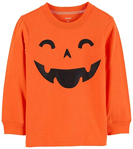 Carter's Boys' Long-Sleeve Halloween Graphic Tee (4T, Orange Pumpkin)