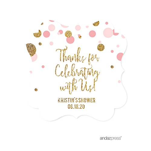 Andaz Press Blush Pink Gold Glitter Girl Baby Shower Party Collection, Personalized Fancy Frame Gift Tags, Thank You for Celebrating With Us, 24-Pack, Custom Name