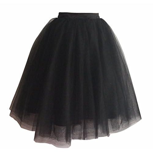 Discount flowerry Women Tulle Knee Length Black Skirt Bridesmaid Skirt Women Prom Skirt free shipping