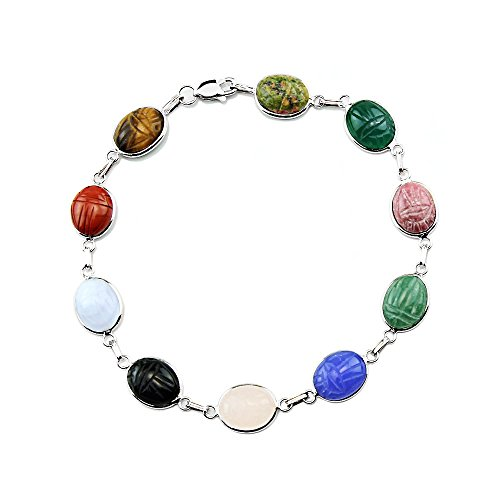 14k White Gold Scarab Bracelet with Small Oval Gemstones 7.25 Inches