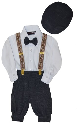 G284 Baby Boys Vintage Knickers Outfit Suspenders Set (2T/2, Charcoal) by Gino Giovanni