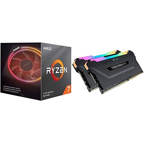 AMD Ryzen 7 3700X 8-Core, 16-Thread Unlocked Desktop Processor with Wraith Prism LED Cooler & Corsair CMW32GX4M2C3200C16 Vengeance RGB PRO 32GB (2x16GB) DDR4 3200 (PC4-25600) C16 Desktop Memory Black