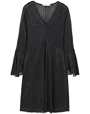 Mango Women's Metallic Pleated Dress