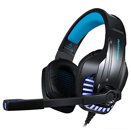 Trobing Gaming Headset PS4 Xobx One Controller PC PSVR, Noise Cancelling Mic Over Ear Headphones LED Light Stereo Surround Sound, Lightweight Comfort Laptop Mac Games - Blue