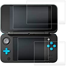 Screen Protector for Nintendo 2DS XL, AFUNTA 2 Pack (4 Pcs) Tempered Glass for Top and Bottom Screen, 2DS Protective Films Accessory