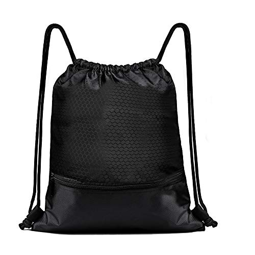 Drawstring Backpack Gym Sack Waterproof Durable Foldable Large Drawstring Bag Lightweight Convenient and Spacious Sackpack Pull String Backpack for Sport School Traveling Gym Basketball Yoga (black1)