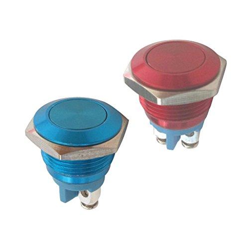 ラッチング 押しボタンスイッチ 2個 16mm 防水 メタル レッド+ブルー