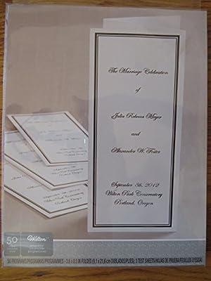 Wilton Border Trifold Wedding Program Paper, Black Border, 50 Count
