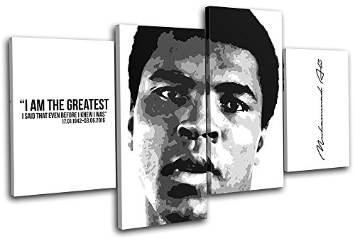 Bold Bloc Design - Muhammad Ali Boxing Quote Sports 240x135cm MULTI Canvas Art Print Box Framed Picture Wall Hanging - Hand Made In The UK - Framed And Ready To Hang