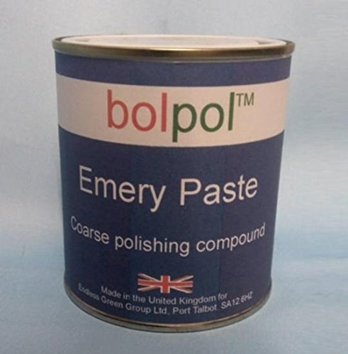 Bolpol Emery Paste - coarse grade metal polishing compound for Iron steel stainless steel tool steel and aluminium 500ml - Emery Grey TIn Bolger products are made in the UK