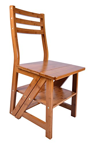 Natural Bamboo Multi-functional Four-Step Library Ladder Chair (Library Chair)