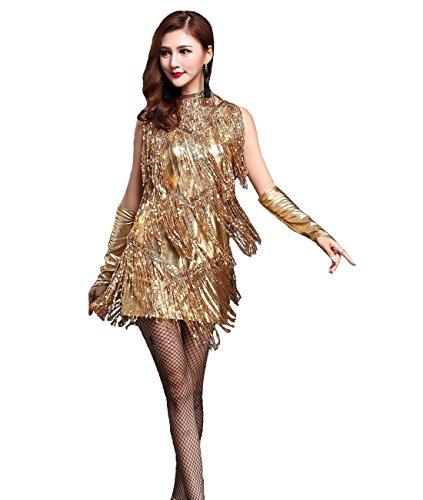 728c6a5f839a Femirah Women's V Neck 1920s Sequin Fringe Charleston Flapper Dance Dresses  Costumes