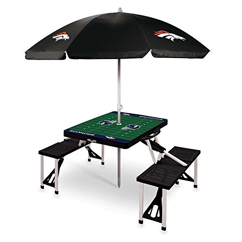 NFL Denver Broncos Picnic Table Sport with Umbrella Digital Print, One Size, Black by PICNIC TIME