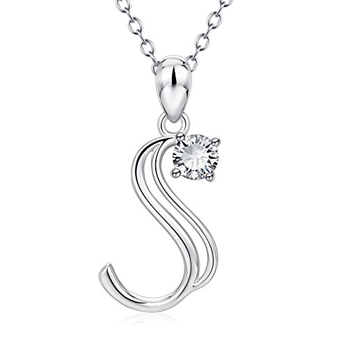 YFN Initial Necklace Sterling Silver Letter S Alphabet Pendant Necklace Jewelry for Women Teen Girls - Sterling Silver Initial Letter