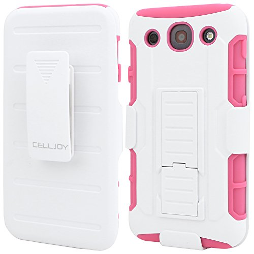 LG G PRO Case, CellJoy [Future Armor] {Pink / White} LG Optimus G Pro E980 E989 2013 Release Model Case Hybrid Ultra Fit Dual Protection [Heavy Duty] Kickstand Holster **Shock-proof** [Belt Clip Holster Combo] - Robot Case Cover