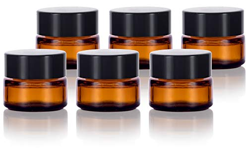 Amber Glass 5 ml 1/6 oz Small Thick Wall Balm Jars with Black Smooth Lids (6 ()