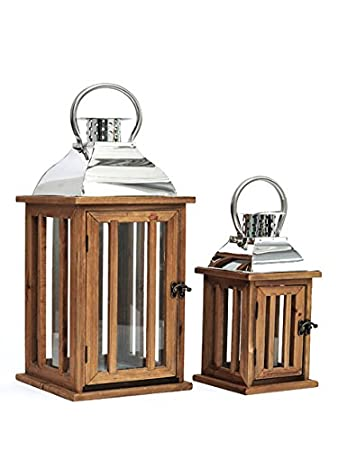 SET of TWO Rustic Wood Chrome Lanterns Candle Holders Garden