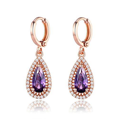 FidgetKute 18K Rose Gold Filled Pear Shaped Purple Amethyst Dangle Hoop Earrings Jewelry ()