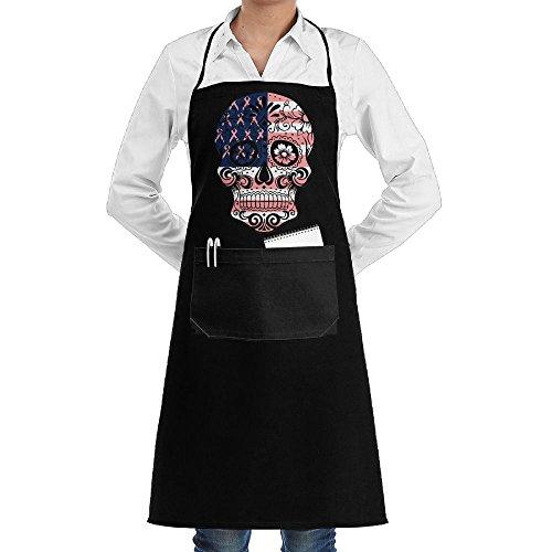 Apron&&Kitchen Breast Cancer Flag Sugar Skull Adjustable Cooking Kitchen Aprons With Pockets For Men -