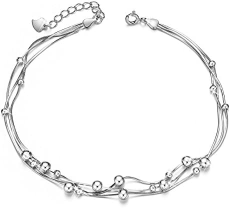 SHEGRACE 세 발목 장식 구슬을 발목 장식 스털링 실버 925 스 터 된 쥬얼리 여성용 210mm / SHEGRACE Triple AnkleT Ball Beads Ankle Decoration Sterling Silver Silver 925 With Adder Jewelry Ladies 210mm