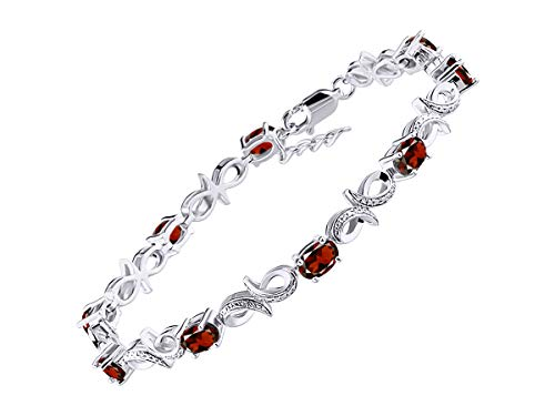 (Stunning Garnet & Diamond Infinity Tennis Bracelet Set in Sterling Silver - Adjustable to fit 7