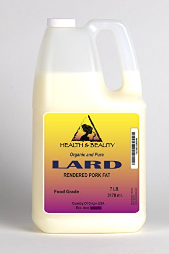 Lard Organic Foods Rendered Pork Fat by H&B OILS CENTER Grass-Fed Traditional Cooking Oil All Natural 100% Pure 128 oz, 7 LB, 1 gal ()