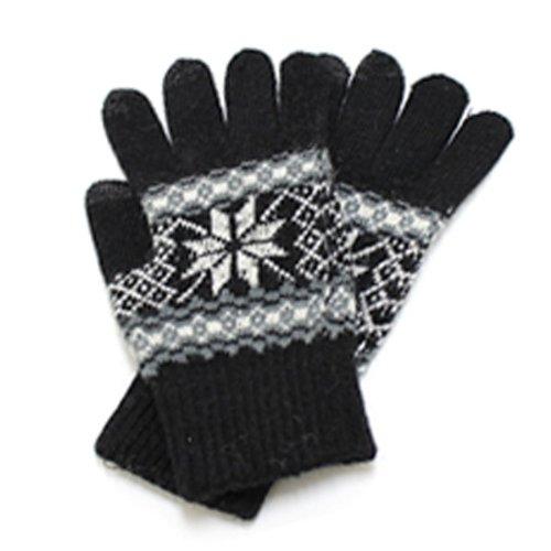 【シードスタイル】 touch screen glove 【雪結晶 ブラック】 スマホ手袋 ノルディック柄