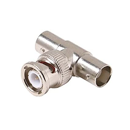 Male to 2 BNC Female T Adapter Jack Dual Double Female 75 Ohm Nickel Plated Brass