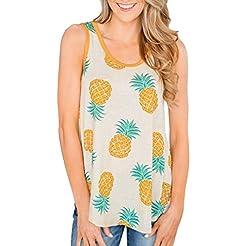 KYLEON Women Tops Sleeveless Pineapple P...