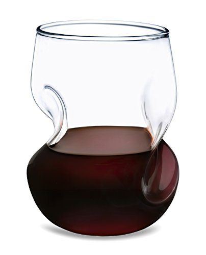 Dragon Glassware Wine Glasses - Stemless Tumblers with Wave Design for Decanting, 16 Ounces, Set of 2 (Gift Boxed) (Glassware Stemless)