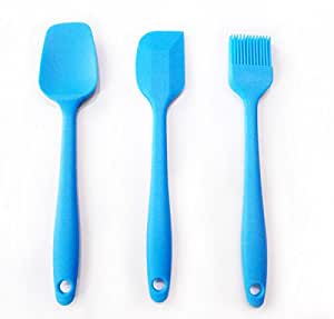 Kingway Silicone Spatula Set for Cooking and Baking Mixing, Non Stick Small Size Set of 3 Pieces (Blue)