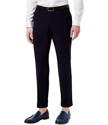 INC Navy Men 38X32 Seersucker Dress - Flat Front Stretch Pants Blue (Seersucker Flat Front Pants)