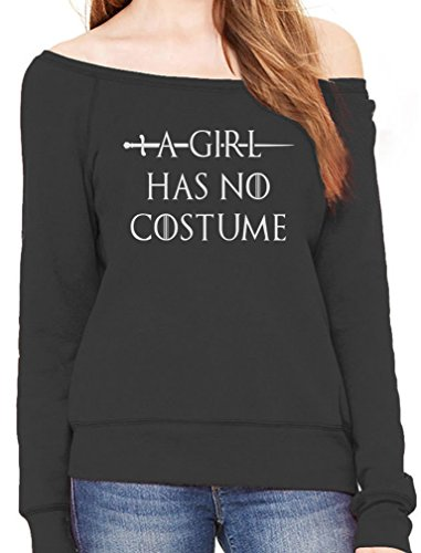 TeeStars - A Girl Has No Costume - Funny Halloween Off Shoulder Sweatshirt Small Black