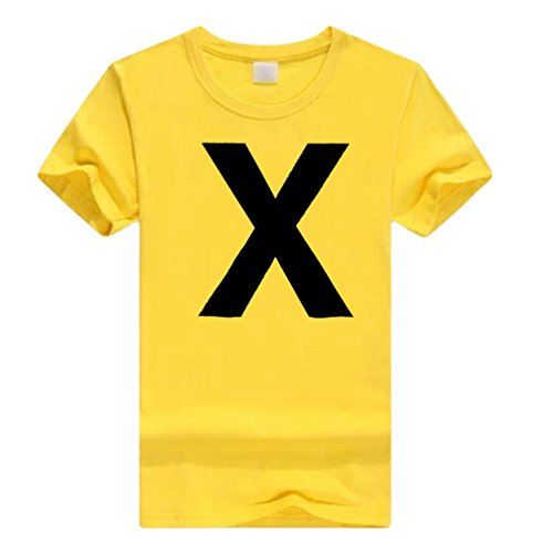 NiSeng Pareja Camiseta Verano Manga Corta Personalidad Impresión T-Shirt Casual Amantes Tops Amarillo&Negro X