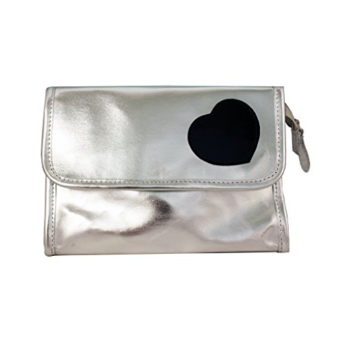 Mia Cosmetic Bag With Mirror Inside Bag Flap-Metallic Silver Faux Leather With Black Patent Heart Design-Silver Zipper And Puller-Waterproof Inside-Measures 8