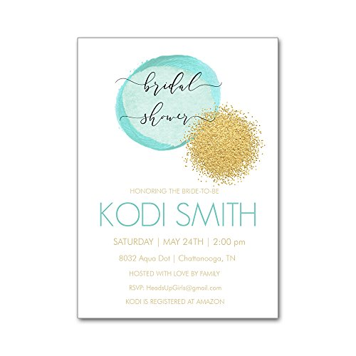 Set of 12 Personalized Bridal Wedding Shower Invitations and Envelopes with Watercolor Aqua Blue and Gold Glitter Dots NVB8032