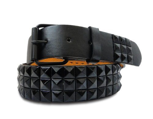 V5 Men's 3 Row Stud Belt with Removeable Snap Buckle - large (Row Stud)