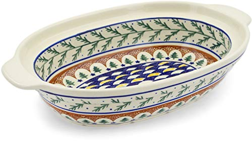 Polish Pottery 12¾-inch Oval Baker with Handles (Pine Boughs Theme) + Certificate of Authenticity