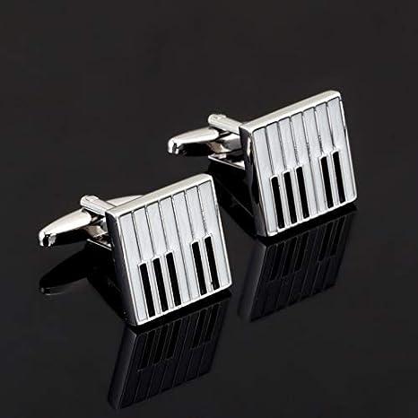 XIUKLF Gemelos de Piano Blanco Camisa de Hombre Botones de puño Cuadrados Música de Esmalte Gemelos Boda Novios Regalo Marca Joyería: Amazon.es: Deportes y aire libre