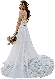 Bohemian Wedding Dresses Spaghetti Strap with Adjustable Drawstring Lace Bridal Gowns