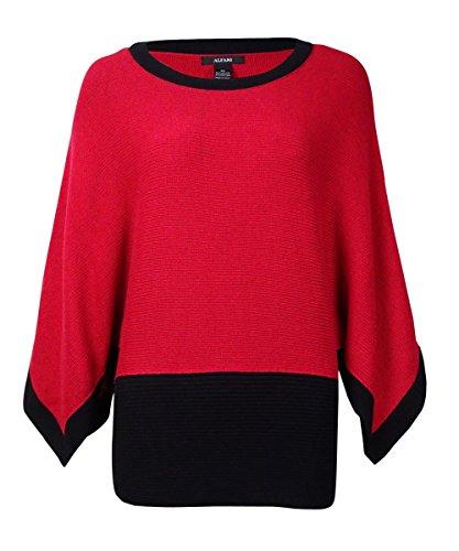Alfani Red Colorblocked Poncho Sweater - Alfani Sweater Red