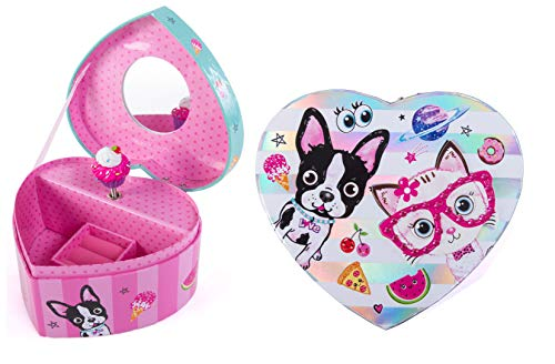 (Hot Focus Musical Girls Jewelry Box - Best Pals Dog and Cat Music Jewel Storage Box - Plays Beethoven's Für Elise )