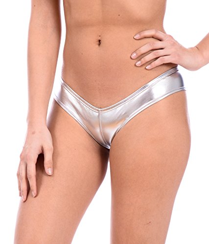 Women's Metallic Sexy Swimsuit Thong by Gary Majdell (Liquid Silver, Small)