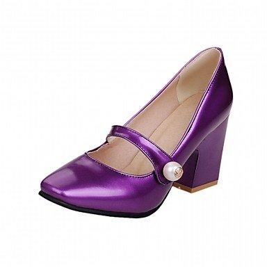 Talones de las mujeres de cuero Primavera Otoño Comfort oficina y carrera del partido y vestido de noche tacón grueso de la hebilla verde púrpura rosado amarillento Purple