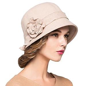 Maitose Trade; Women's Wool Felt Flowers Church Bowler Hats
